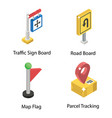 location direction isometric icons pack vector image vector image