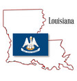 louisiana state map and flag vector image vector image