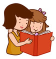 mother and daughter reading a book vector image