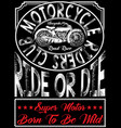 motorcycle poster tee graphic vector image vector image