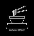 noodles bowl white linear icon for dark theme