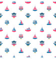 pattern with owls sailors and boats vector image