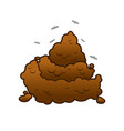 poop and flies shit isolated turd on white vector image vector image