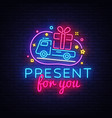 prizes for you neon sign gift design vector image vector image