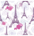 purple pink eifel tower paris and roses vector image vector image