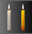realistic candle on dark back vector image vector image