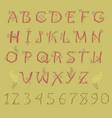 red folk alphabet vector image vector image