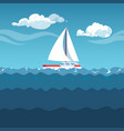 sea white sailboat on small waves vector image vector image