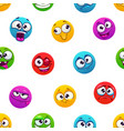 seamless pattern with funny colorful comic emoji vector image