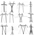 Set electricity transmission power lines vector image vector image