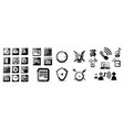 set of black glossy icons vector image vector image