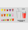 set realistic colorfull cup containers vector image vector image