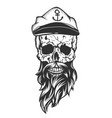 skull with captain cap beard and mustache vector image