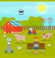 smart farming flat composition vector image vector image