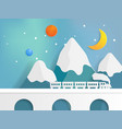 train on bridge with mountain and star vector image vector image