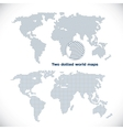 Two dotted world maps vector image vector image