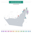 united arab emirates map with location pointer vector image vector image