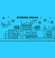united states richmond winter holidays skyline vector image vector image