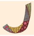 Vintage monogram J Doodle colorful alphabet vector image vector image