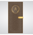 VIP brown leather cover with gold thread and a vector image