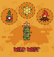 wild west flat concept icons vector image vector image