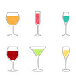 wine and cocktail glasses collection vector image