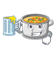 with juice cooking pot of soup isolated on mascot vector image