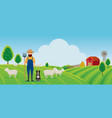 woolgrower with dog and sheep farm on hill vector image vector image