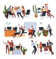 workers having fun in office at breaks set vector image