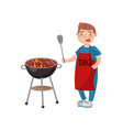 young man cooking meat on the barbecue grill vector image vector image