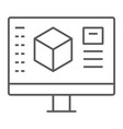 3d design thin line icon model and computer
