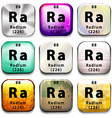 A button showing the element Radium vector image vector image