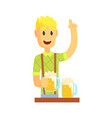 bartender man character standing at the bar vector image vector image