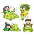 Boy and Girl in bed vector image vector image