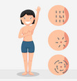 breast cancer self check and breast massage vector image vector image