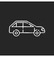 car side view chalk white icon on black background vector image