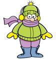 Cartoon Kid Wearing Winter Clothing vector image vector image