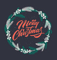 christmas greeting card with handwritten lettering vector image vector image