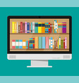 computer monitor and book shelf vector image vector image