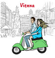 couple driving scooter in vienna vector image vector image