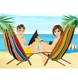 couple sitting in deckchairs on the beach toasting vector image vector image