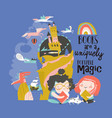 cute girls reading fairy tale and dreaming vector image