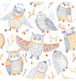 cute owls seamless pattern in boho style with vector image vector image