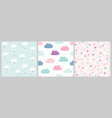 cute scandinavian pattern set with clouds vector image
