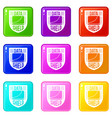 data shield icons set 9 color collection vector image vector image