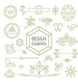 Design element set mono line art ornamental nature vector image vector image