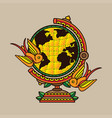 design traditional globe tattoo vector image