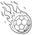 doodle soccer football fire vector image vector image