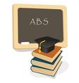 education emblem with mortar board vector image vector image