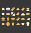 fast food flat icons hot dog cheeseburger taco vector image